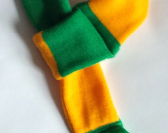 Dog scarf - football, soccer, yellow and green stripe