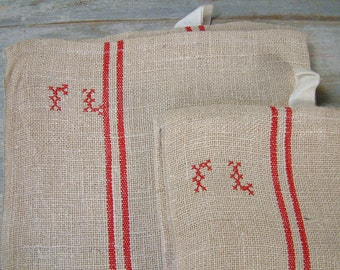 French vintage hemp grain sack tea towel with red stripe and monogram. Rustic french country kitchen.  Never used.  Monogram FL