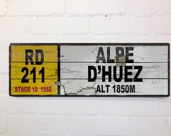 Vintage Cycling Mile Marker Alpe Dhuez Tour de France Wall Door Sign