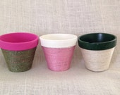 Jute Wrapped Clay Pots for Decorative or Flower Pot Use. 4 x 4