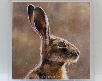 Coaster, Wild Hare. From an Original Painting by Award Winning Artist JOHN SILVER. Hac001