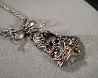 Vintage Art Deco Style Silver Tone Christmas Bell Multi Colored Rhinestones Large Design Necklace   K