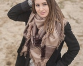 Cream Blanket Scarf Plaid Scarf Fashion Accessory Women Accessory Winter Accessory Woman Fashion Gift for Her