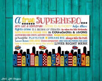 A True Superhero. Superhero Rules. Superhero Room Decor. Superhero Wall Art. Boys Room Decor. Superhero Sign. Boys Party. Little Boys Art.
