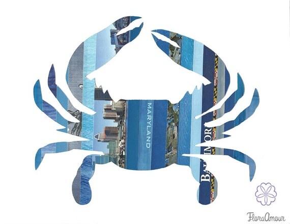 Blue Maryland Crab 8 5 X11 Print Maryland Art Maryland