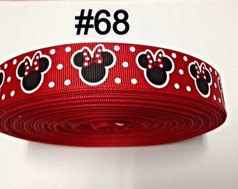 """3 or 5 yard - 7/8"""" Red Polka Dot Minnie Mouse inspired Grosgrain Ribbon Hair bow"""