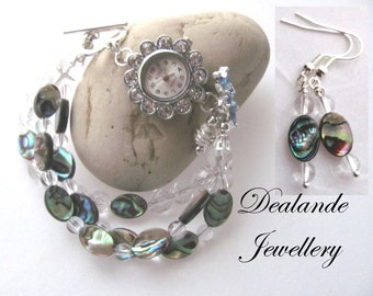 She Sells Sea Shells Abalone Watch/Bracelet & Earring Set