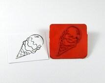 Rubber Stamp - Ice Cream Cone Stamp - Kids Stamping - Card Making - Scrapbooking Supplies