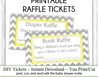 INSTANT DOWNLOAD - Book Raffle Tickets AND Diaper Raffle Tickets, Gray and Yellow Chevron Baby Shower Raffle Tickets, You Print