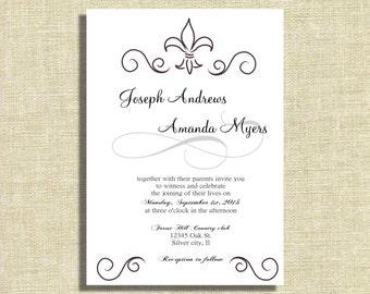 Wedding invitation, French wedding invitations, modern invitations, romantic invitation, vintage wedding invites