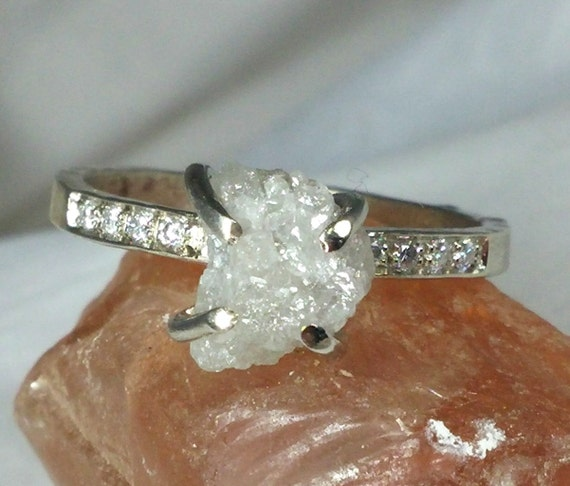 Snow white rough diamond and solid white gold by earthdiamond for Snow white wedding ring