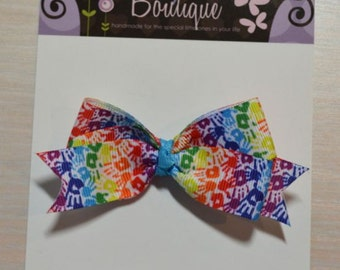 Boutique Style Hair Bow - Bright Handprints