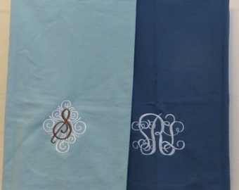 Personalized Monogrammed Flour Sack Towels---Set of 2--Your Choose Colors, Monogram and Style!