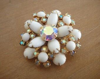 Vintage milk glass and aurora borealis flower brooch - costume jewelry brooch - milkglass jewelry - white rhinestone flower brooch