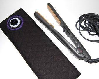 Flat Iron Cover, Flat Iron Case, Flat Iron Sleeve, Quilted Iron Case, Hot Iron Case, Curling Iron Case, Flat Iron Holder, Black Iron Pouch