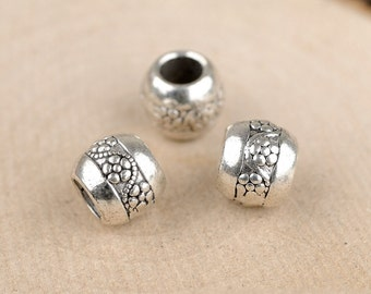 DIY 50 pcs Tibetan Silver beads  carved spacer beads charm pendant 10x8mm big hole bead