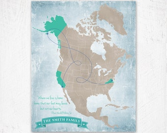 North America Push Pin Map Print Only Canada Map Mexico - North america map mexico
