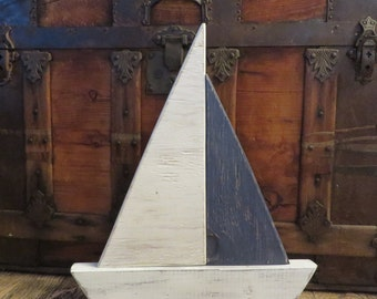 Wood Sailboat Nautical Decor - Reclaimed Wood