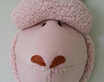 ALPACA - Faux Taxidermy - Fabric Wall Mounted Animal Head - Albert Alpaca - wall decor.