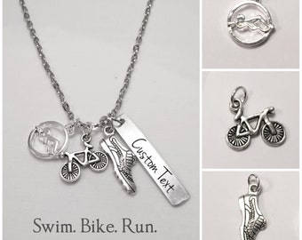Triathlon Necklace, Ironman Triathlon, Triathlon Jewelry, Personalized Triathlon Necklace, Ironman Triathlon Gifts, Swim Bike Run Gifts 70.3