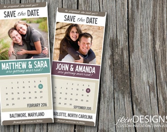Colorful Wedding Save the Date with Calendar (Customized Photos, Content & Color for DIY Printing)