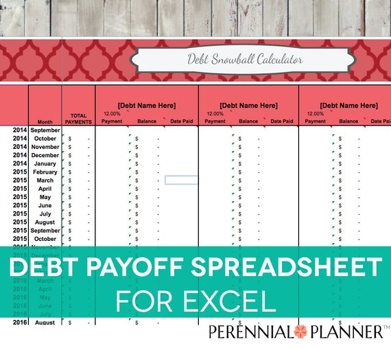 Debt Payoff Spreadsheet - Debt Snowball, Excel, Credit Card Payment ...