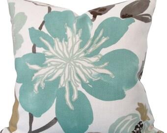Designer Decorative Pillow Cover-Kravet-Blue,Brown,Ivory Floral Design-Double Sided-Accent Pillow-Sofa Pillow
