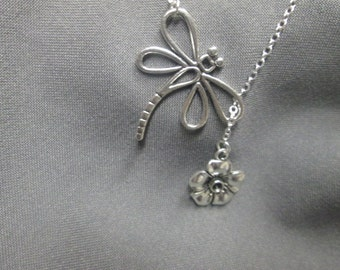 Dragonfly and Flower Lariat Necklace