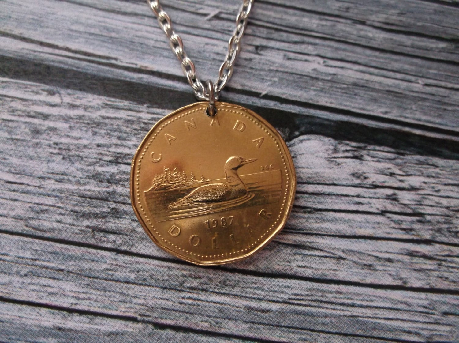 Canadian Gold Colored Dollar Duck Coin Pendant Canada Coin