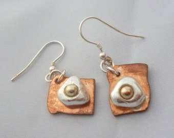 Sterling silver poached egg earrings, 9 carat gold & copper