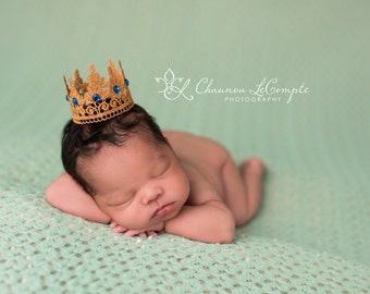 Little Prince Golden King Crown Golden Lace Crown Royal Blue Gold Crown Newborn Boy Photo Prop Baby Boy Crown