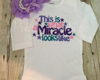 This is what a miracle looks like bodysuit. Perfect coming home outfit body suit and headband