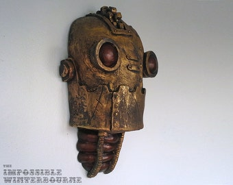 SteamBot Sculpture - Tarnished Gold Robot, steampunk artwork, steampunk c3-po, iron giant, ironman, space invader, galactic robot
