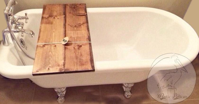 bathtub caddy wood tub tray reclaimed wood tray wooden. Black Bedroom Furniture Sets. Home Design Ideas