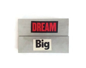 Fridge Magnets | DREAM BIG |  Retro | Home Decor | Office magnets | Recycled Gift |  Motivation |