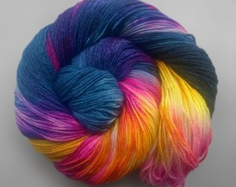 Hand Painted Sock Yarn - Superwash Merino Bamboo Nylon- Midnight Lava - 4oz skein