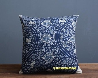 Blue And White Porcelain Chinese Traditional Style Cushion Cover Lotus Pattern E
