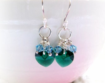 Sterling Earrings, Crystal Heart Earrings, Wire Wrapped Earrings, Earrings, Hearts, Emerald Swarovski Hearts, Dangle Earrings, Silver