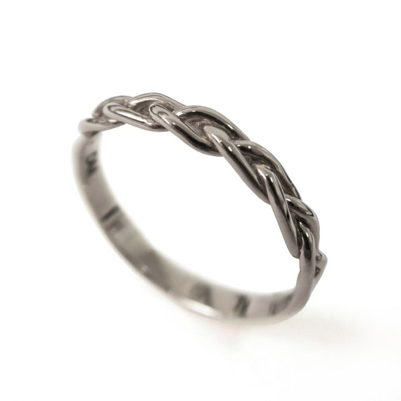 braided ring 18k white gold stackable ring wedding band