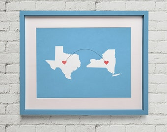 Two State Travel Print 10x8 Print Home, Nursery, Office Decor, Wedding Gift, Kitchen, Housewarming Gift, Unique Holiday Gift, Wall Poster