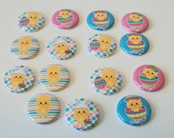 Fun Dots and Stripes Pastel Easter Chicks 1 Inch Flat Back Embellishments Buttons Flair