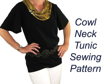 Cowl Neck Tunic Sewing Pattern, BSS145