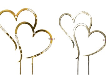 Silver or Gold Wedding Cake Topper Heart Diamante Decorations Supplies, FREE POSTAGE Australia Wide