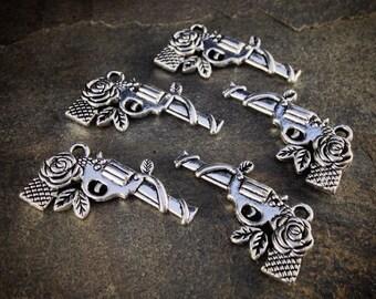 5pcs Silver Tone GUN Pistol & ROSE Flower Charms 3.1cm x 1.9cm