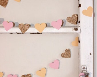 Paper Heart Garland,  Peach, Pink and Gold Glitter Hearts - Wedding - Engagement - 21st - Sweet 16 - Wall Decor - Table Decoration.