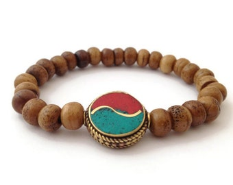Tibetan Brown Bone Beads Stretch Wrist Mala Bracelet with Yin Yang Bead Capped
