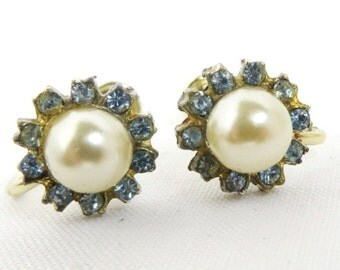 Earrings - Vintage Faux Pearl Rhinestone Earrings, Silver Tone Screw Back Earrings Bridal Jewelry, Gift for Her, FREE SHIPPING