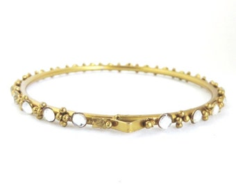 Vintage Moonstone Glass Bangle, Gold Tone Skinny Bracelet, Small Bangle Gift for Her