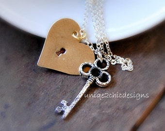 Key Necklace, Key To My Heart Necklace, Gold Heart Necklace, Lock and Key Necklace, Silver Skeleton  Key, Hand Stamped Jewelry, Gift for Her