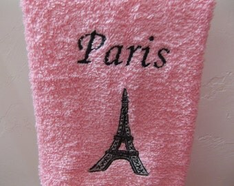 Embroidered ~PARIS EIFFEL TOWER~ Pink Bathroom Hand Towel